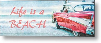 Life Is A Beach 57 Chevy Metal Print by Edward Fielding