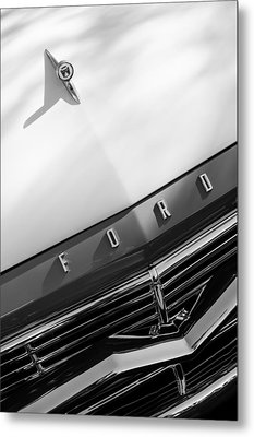 1957 Ford Custom 300 Series Ranchero Hood Ornament - Emblem Metal Print
