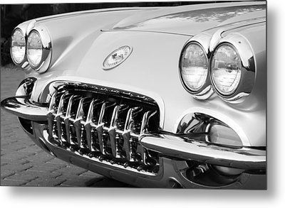 1960 Chevrolet Corvette Grille Metal Print by Jill Reger