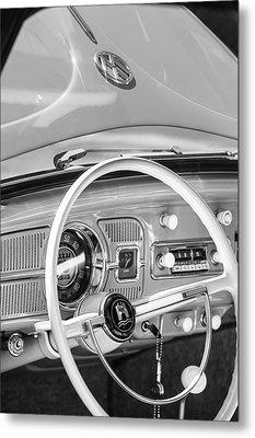 1962 Volkswagen Vw Beetle Cabriolet Steering Wheel Metal Print by Jill Reger
