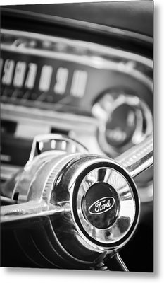1963 Ford Falcon Futura Convertible Steering Wheel Emblem Metal Print by Jill Reger