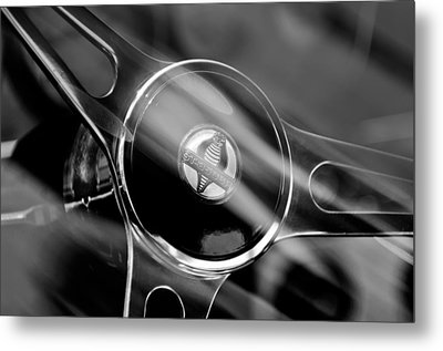 1965 Ford Mustang Cobra Emblem Steering Wheel Metal Print by Jill Reger