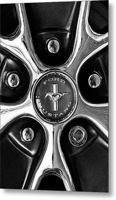 1966 Ford Mustang Gt Wheel Emblem Metal Print by Jill Reger