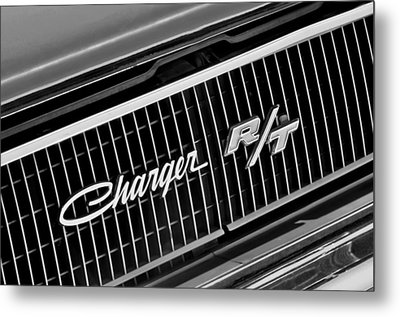 1968 Dodge Charger Rt Coupe 426 Hemi Upgrade Grille Emblem Metal Print by Jill Reger