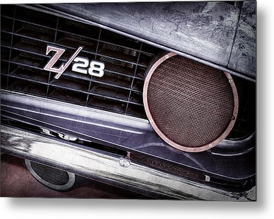 1969 Chevrolet Camaro Z28 Grille Emblem Metal Print by Jill Reger