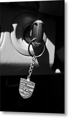2008 Porsche Key Ring Black And White Metal Print by Jill Reger