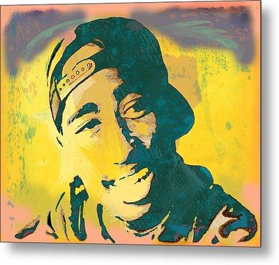 2pac Tupac Shakur Stylised Pop Art Poster Metal Print by Kim Wang