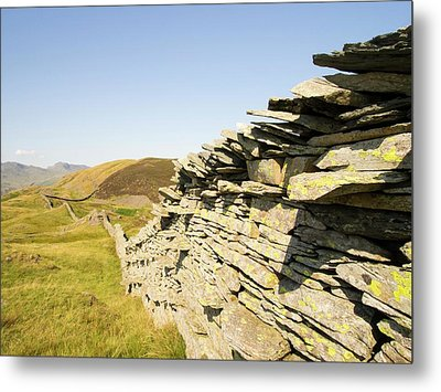 A Dry Stone Wall On Lingmoor Metal Print