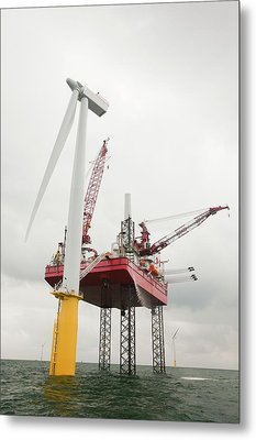 A Jack Up Barge Fitting Wind Turbines Metal Print by Ashley Cooper
