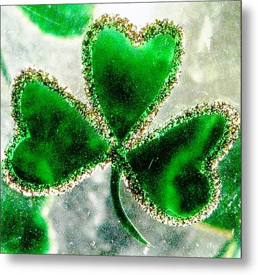A Shamrock On Ice Metal Print by Angela Davies