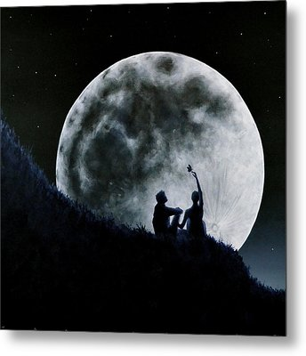 Metal Print featuring the painting A Sign Of Change Under A Full Moon Rising by Ric Nagualero