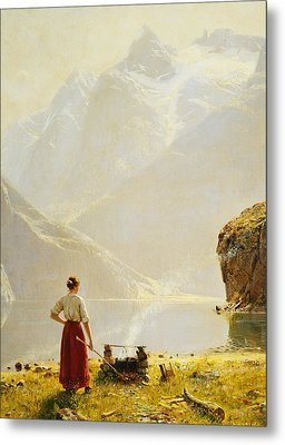 A Summer Day On A Norwegian Fjord Metal Print by Hans Dahl