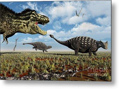 A Tyrannosaurus Rex Hunting Down A Pair Metal Print by Mark Stevenson