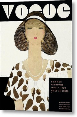 A Vintage Vogue Magazine Cover Of A Woman Metal Print by Harriet Meserole