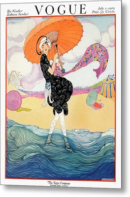 A Vogue Cover Of A Woman On A Beach Metal Print