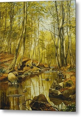A Wooded River Landscape Metal Print