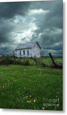 Abandoned Building In A Storm Metal Print by Jill Battaglia