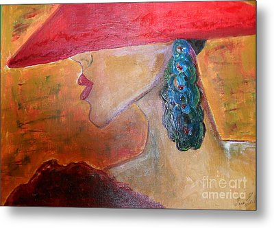 Metal Print featuring the painting Abby Marion by Iris Gelbart