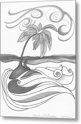 Abstract Art Tropical Black And White Drawing Who Am I To Disagree By Romi Metal Print by Megan Duncanson