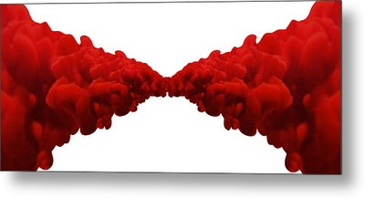 Abstract Merging Red Inks Metal Print