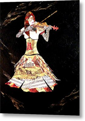 Steampunk Girl Abstract Painting Girl With Violin Fashion Collage Painting Metal Print