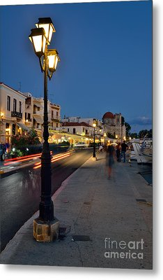 Aegina Port During Dusk Time Metal Print
