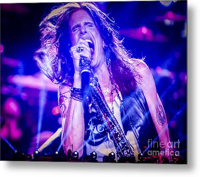 Aerosmith Steven Tyler Singing In Concert Metal Print by Jani Bryson