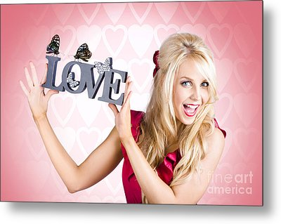 Affectionate Blonde Woman With Love Butterflies Metal Print by Jorgo Photography - Wall Art Gallery
