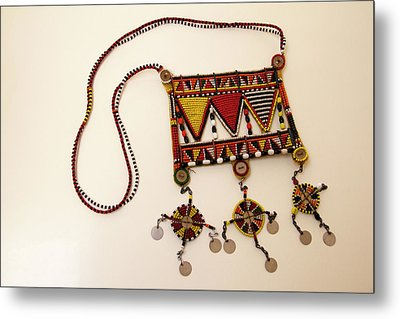Africa, Kenya Maasai Tribal Beadwork Metal Print