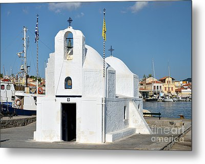Agios Nikolaos Chapel In Aegina Port Metal Print by George Atsametakis