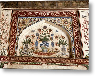 Agra, India Still-life Floral Painting Metal Print