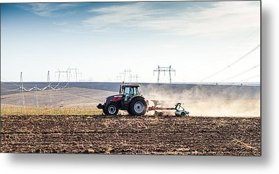 Agriculture Tractor Landscape Metal Print by Daniel Barbalata
