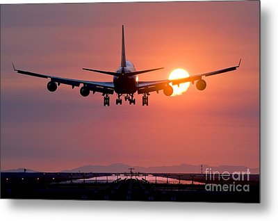Airplane Landing At Sunset, Canada Metal Print