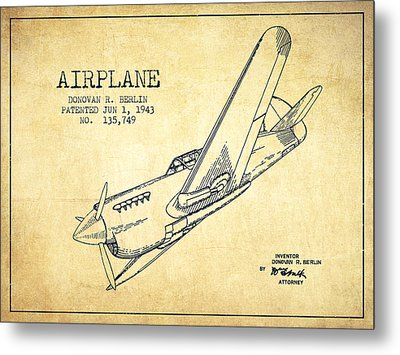 Airplane Patent Drawing From 1943-vintage Metal Print by Aged Pixel