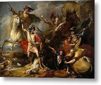 Alexander IIi Of Scotland Rescued From The Fury Of A Stag By The Intrepidity Of Colin Fitzgerald  Metal Print
