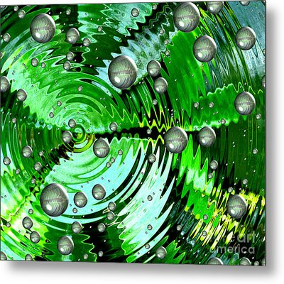 Amazing. Abstract Art. Green Grey  Blue Yellow  Metal Print