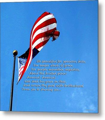 America The Beautiful - Us Flag By Sharon Cummings Song Lyrics Metal Print by Sharon Cummings
