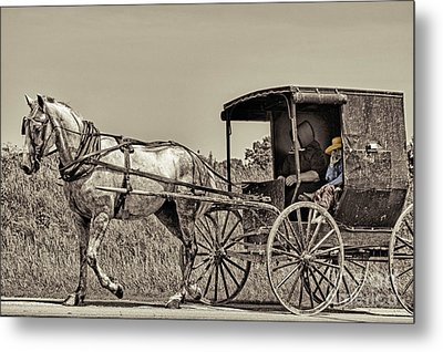 Amish Boy Tips Hat Metal Print