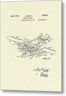 Amphibian Aircraft 1932 Patent Art Metal Print by Prior Art Design