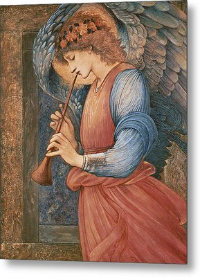 An Angel Playing A Flageolet Metal Print by Sir Edward Burne-Jones
