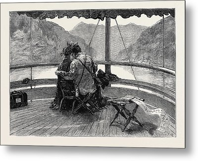 An Autumn Tour In Switzerland On The Rhine Boat Metal Print by Swiss School