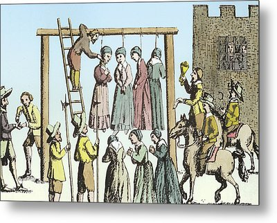 An Execution Of Witches In England Metal Print by English School