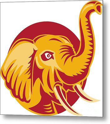 Angry African Elephant Head Retro Metal Print by Aloysius Patrimonio