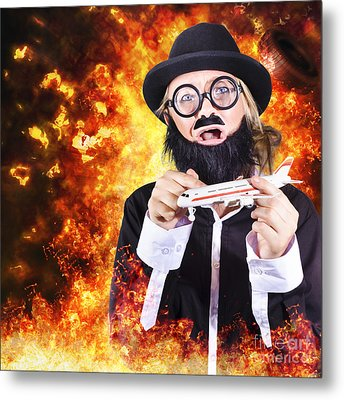 Angry Business Terrorist Hijacking Model Plane Metal Print by Jorgo Photography - Wall Art Gallery