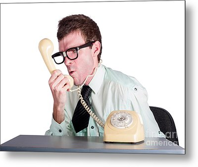 Angry Businessman Yelling Down Phone Metal Print by Jorgo Photography - Wall Art Gallery
