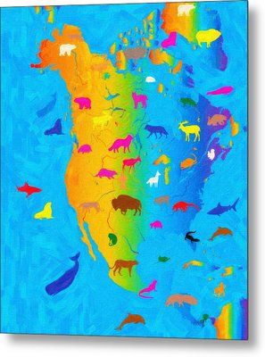 Animal Map Of North America Metal Print by Celestial Images