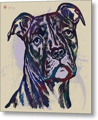 Animal Pop Art Etching Poster - Dog 13 Metal Print by Kim Wang