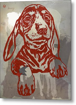 Animal Pop Art Etching Poster - Dog 5 Metal Print by Kim Wang