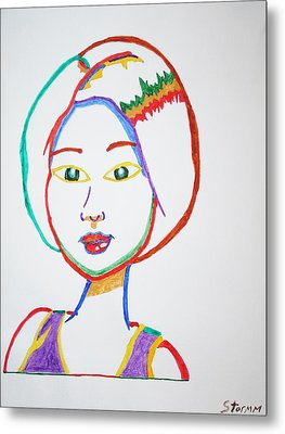 Metal Print featuring the painting Anime Asian Girl by Stormm Bradshaw
