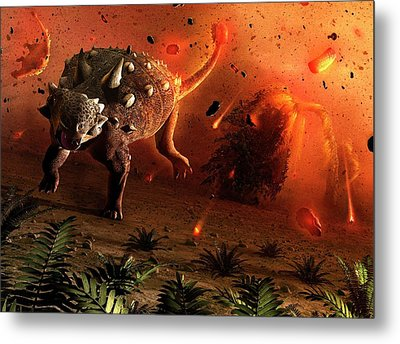 Ankylosaurs Caught In Blast Wave Metal Print by Mark Garlick